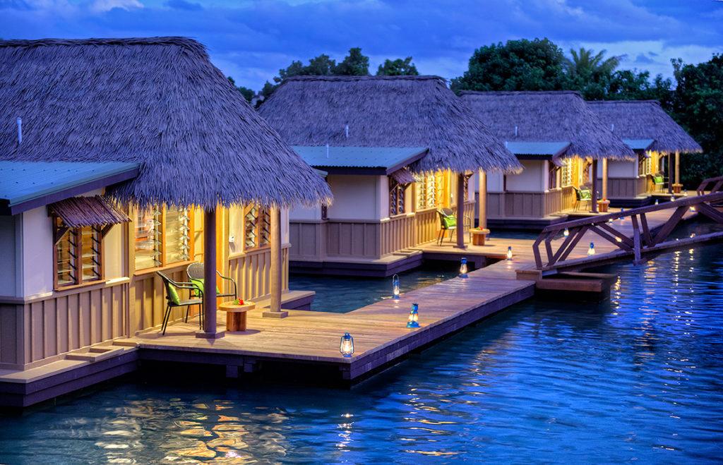 Overwater bungalows in fiji